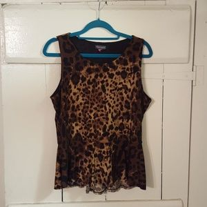 Vince Camuto Leopard sleeveless poly/spandex top